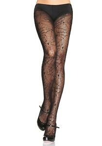 Leg Avenue Sexy Black Spider Lace Web Tights Pantyhose One Size