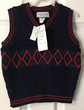 Imp Originals Boys Sweater Vest Navy Blue 4 4T Small Holiday Christmas NWT