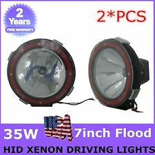 HID Xenon Driving Lights - 2pcs 7Inch 35w Flood Beam 4x4 4wd Off Road 12V Round