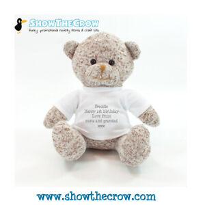 20cm Personalised Brown Teddy Bear, Baby Gift, Keepsake Baby Gift
