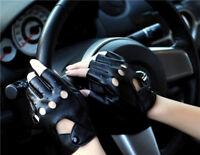 1/2x Black Half Finger Driving Gloves Leather Fingerless Gloves Women Lady Punk