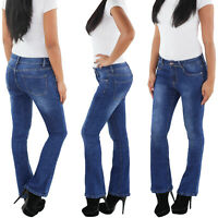 SOTALA Bootcut Flared Damen Jeans Stretchhose Hose Schlaghose Damenhose Blau