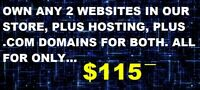 ONLINE BUSINESS STARTUP - OWN ANY 2 WEBSITES, DOMAINS AND HOSTING FOR JUST $115