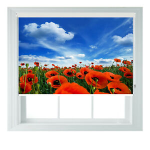New Red Poppy Fields Printed Photo Black Out Roller Blinds 2 3 4 5 6ft