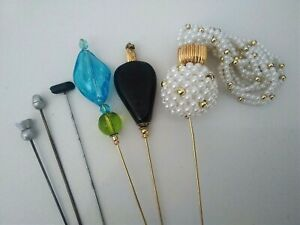 Fabulous Antique & Vintage Hat Pin Collection pearl tassel, murano glass, acorn,
