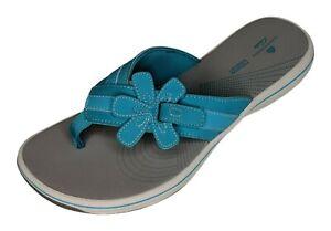 Cloudstepper's by Clark's Brinkley Flora Women's 8M Aqua Blue Thong Sandal