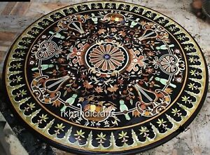 48 Inches Marble Dining Table Top with Antique Work Round Office Meeting Table