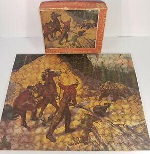"Tuco Deluxe Picture Puzzle ""To the Rescue"" vtg jigsaw cowboy bear - Complete"