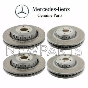 For Mercedes C216 Set of Front & Rear Vented Cross Drilled Brake Rotors Genuine