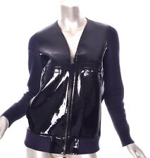 MARNI for H&M Patent Leather Black Blue Zip Up Jacket Size US 4