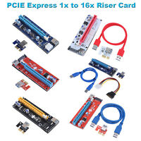PCIE Express 1x to 16x Riser Card Extender Adapter Mining Board Power Cable Kit