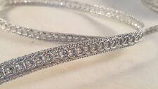 1cm- Beautiful silver sequins lace trim ribbon for crafts decor arts- 1 metre