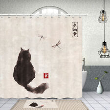 Cat and Dragonfly Shower Curtain Bathroom Decor Fabric & 12hook 71X71IN