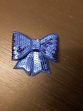 Blue 3D sequin bow hotfix iron on Motif patch Lace xmas costume Applique