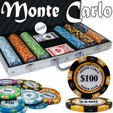 NEW 300 PC Monte Carlo 14 Gram Clay Poker Chips Set Aluminum Case Pick Chips
