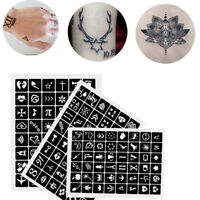 3 Sheets 144 Designs Henna Temporary Tattoo Template Body Art Stencil Stickers