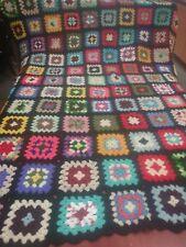 "Vintage Granny Square Crochet Afghan 62"" x 57"" Multicolored Black Scalloped Edge"