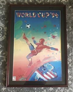 Vintage 36x24 Signed Peter Max 1994 World Cup Soccer Poster With Provenance