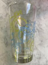 4 Clear Civia Cycles Drinking Glasses Tumblers Green Blue Bicycles Advertising