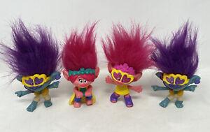 McDonalds Kids Toys 2020 Pink/Purple Trolls Dolls Figures Dreamworks Bundle X 4