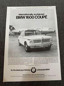 1967 BMW 1600 Coupe British Eagle BAC 1-11 Jet photo vintage print Ad
