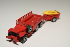 1:43 SOLIDO DODGE 6X6 TRUCK WITH TRAILER BOAT POMPIER FIRE EXCELLENT CONDITION