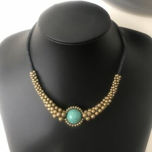 Twisted Cord Faux Turquoise & Gold Bead Collar Necklace,
