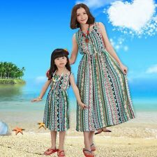 Summer Family Clothes Mother Daughter Beach Dresses Womens Kids Girls Long Dress