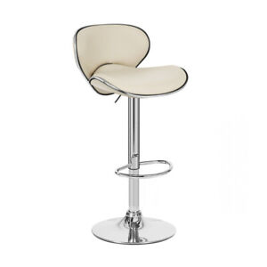 "BEIGE ""LEATHER"" BARSTOOL ADJUSTABLE SWIVEL- ADJUSTING BAR STOOL - KAPPA-SET OF 2"