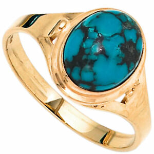 Ring Women's with Real Turquoise Oval 585 Yellow Gold Finger Jewellery