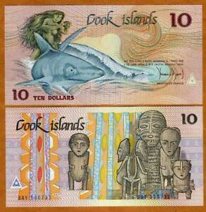Cook Islands, $10, 1987, Naked Ina & a shark,  P-4, UNC
