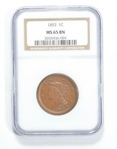 MS65 BN 1853 Braided Hair Large Cent - Graded NGC *1392