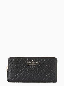 Kate Spade ~HOLLIE SPADE Clover Continental Zip EMBOSSED Wallet ~BLACK~ NWT $229
