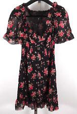 New D&G Dolce&Gabbana sz 40 / US 2 silk floral ruffle black dress babydoll