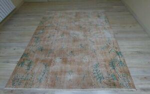 Pale Orange Vintage Area Rug Vegetable Dye Bohemian Wool Ethnic Carpet 6x7 ft