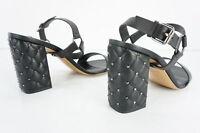 Valentino Rockstud Spike Ankle Strap Block Black Heel Sandals Size 40.5 NIB 10.5