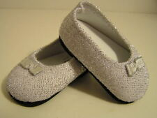 "Silver Glitter Shoes made for 18"" American Girl Dolls Clothes New"