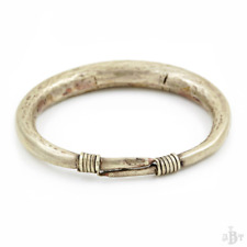 Antique Vintage Victorian Sterling Silver Indo Chinese Repousse Bangle Bracelet