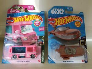2021 Hot Wheels Lot Of 2 BARBIE Dream Camper RV & Star Wars X-34 Landspeeder