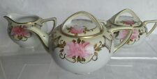Vintage Nippon hand painted tea pot, creamer & sugar set roses and beaded gold