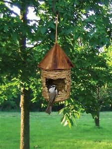 Small Hanging Grass Twine Bird House with Roof - SPECIAL OFFER 2 for $19