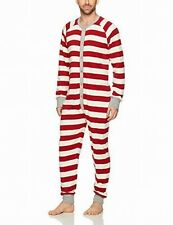 Burt's Bees Mens Sleepwear Red Size XL Striped Button Front Footed $45 890