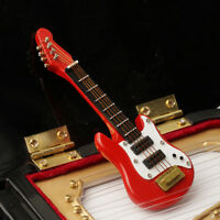 1/12 Dollhouse Mini Electric Guitar For Doll House Home Decor DIY Toy Red w/