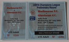 OLD TICKET CL Shelbourne FC Ireland - Glentoran Belfast Northern Ireland