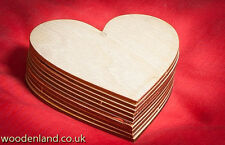 10x Wooden Heart Shapes Polywood Craft 100mm /10cm laser cut embellishment tags