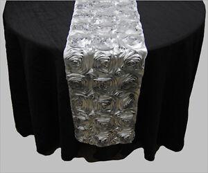 "10 Silver Rosette Rose Satin 3D Table Runners 12"" x 108"" Ribbon Wedding Event"