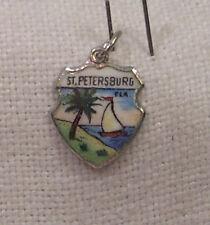 Vintage REU Sterling/Enamel St. Petersburg, Florida Bracelet/Travel Charm - NOS