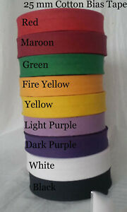 """COTTON BIAS BINDING TAPE FOLDED, 25MM 1"""" 25MTR ROLL, VARIOUS COLOURS"""