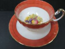 Aynsley Teacup & Saucer Orange and White with wide mouth with Floral bouquest