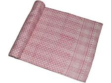Cotton Handmade Kantha Quilt Pink Block Printed Gudari Home Decor Blanket Queen